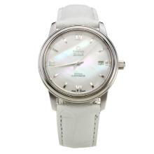 Omega De Ville with MOP Dial-White Leather Strap-1