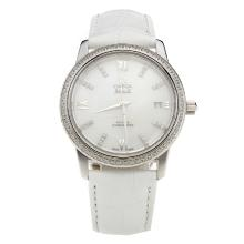 Omega De Ville Diamond Bezel with MOP Dial-White Leather Strap