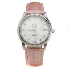 Omega De Ville with MOP Dial-Pink Leather Strap