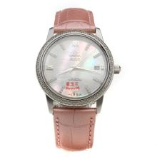 Omega De Ville Diamond Bezel with MOP Dial-Pink Leather Strap