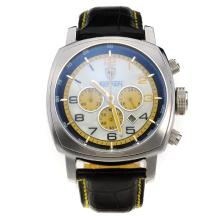 Panerai Ferrari Working Chronograph with Yellow Hands-Leather Strap