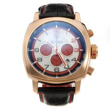 Panerai Ferrari Working Chronograph Rose Gold Case with Red Hands-Leather Strap