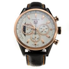 Tag Heuer Carrera Calibre 1969 Working Chronograph Two Tone Case with White Dial-Leather Strap