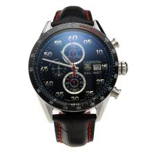 Tag Heuer Carrera Cal.1887 Working Chronograph Ceramic Bezel with Black Dial-Leather Strap