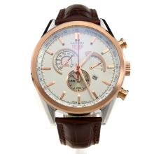 Tag Heuer Carrera Working Chronograph Two Tone Case with White Dial-Leather Strap