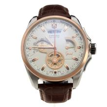 Tag Heuer Carrera Calibre 36 Working Chronograph Two Tone Case with White Dial-Leather Strap