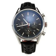 Tag Heuer Carrera CH80 Working Chronograph with Black Dial-Leather Strap