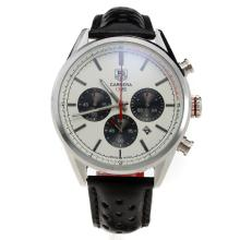 Tag Heuer Carrera CH80 Working Chronograph with White Dial-Leather Strap