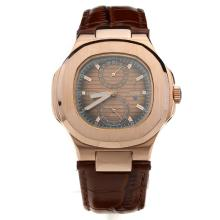 Patek Philippe Nautilus Automatic Rose Gold Case with Brown Dial-Leather Strap