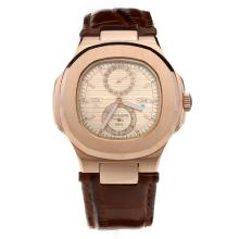 Patek Philippe Nautilus Automatic Rose Gold Case with Champagne Dial-Leather Strap