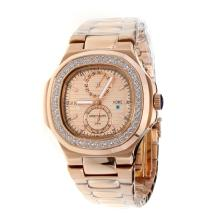 Patek Philippe Nautilus Automatic Full Rose Gold Diamond Bezel with Champagne Dial