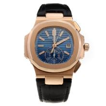 Patek Philippe Nautilus Swiss Valjoux 7750 Movement Rose Gold Case with Blue Dial-Leather Strap