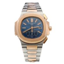 Patek Philippe Nautilus Swiss Valjoux 7750 Movement Two Tone with Blue Dial