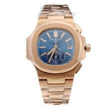 Patek Philippe Nautilus Swiss Valjoux 7750 Movement Full Rose Gold with Blue Dial