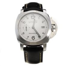 Panerai Luminor Marina Swiss Valjoux 7750 Movement with White Dial-Leather Strap