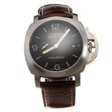 Panerai Luminor Marina Swiss Valjoux 7750 Movement with Black Dial-Leather Strap-1