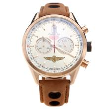 Tag Heuer Carrera Working Chronograph Rose Gold Case with Silver Dial-Leather Strap-2