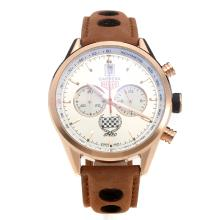 Tag Heuer Carrera Working Chronograph Rose Gold Case with Silver Dial-Leather Strap-1