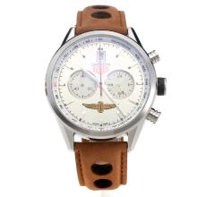 Tag Heuer Carrera Working Chronograph with Silver Dial-Leather Strap-3