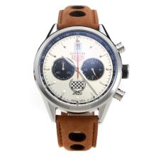 Tag Heuer Carrera Working Chronograph with Silver Dial-Leather Strap-2
