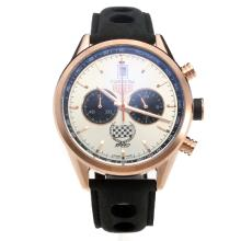 Tag Heuer Carrera Working Chronograph Rose Gold Case with Silver Dial-Leather Strap