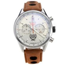 Tag Heuer Carrera Working Chronograph with Silver Dial-Leather Strap-1