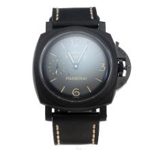 Panerai Luminor Marina Swiss Valjoux 7750 Movement PVD Case with Black Dial-Leather Strap