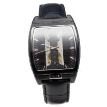 Corum Golden Bridge Manual Winding PVD Case with Black Dial-Black Leather Strap