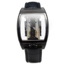 Corum Golden Bridge Manual Winding PVD Case With Skeleton Dial-Black Leather Strap