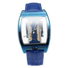 Corum Golden Bridge Manual Winding Blue Case With Skeleton Dial-Blue Leather Strap