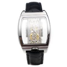 Corum Golden Bridge Manual Winding With Skeleton Dial-Black Leather Strap