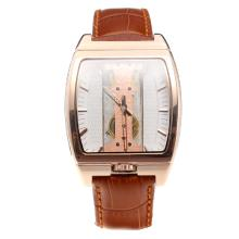 Corum Golden Bridge Manual Winding Rose Gold Case With White Dial and Brown Leather Strap