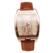 Corum Golden Bridge Manual Winding Rose Gold Case With Champagne Dial-Brown Leather Strap