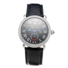Cartier Rotonde De Cartier Watch Diamond Bezel With Black Dial And Leather Strap