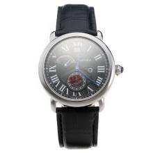 Cartier Rotonde De Cartier Watch With Black Dial And Leather Strap