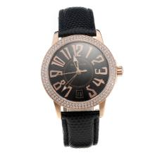 Blancpain Swiss ETA 2836 Movement Rose Gold Case Diamond Bezel With Black Dial Black Leather Strap