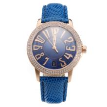 Blancpain Swiss ETA 2836 Movement Rose Gold Case Diamond Bezel With Blue Dial Blue Leather Strap