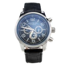 Montblanc Time Walker Automatic with Black Dial--Leather Strap