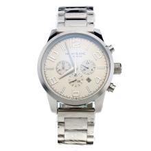 Montblanc Time Walker Working Chronograph with White Dial S/S