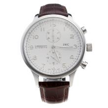 IWC Portuguese Swiss Valjoux 7750 Movement With White Dial--Brown Leather Strap