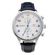IWC Portuguese Swiss Valjoux 7750 Movement With White Dial--Blue Leather Strap