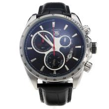 Tag Heuer Carrera Working Chronograph Black Dial With Red Second Hand-48MM Version