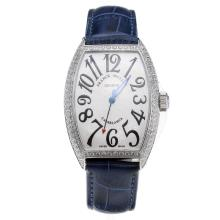 Franck Muller Casablanca Automatic Diamond Bezel with White Dial-Blue Leather Strap