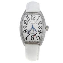 Franck Muller Casablanca Automatic Diamond Bezel with White Dial-White Leather Strap