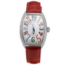 Franck Muller Casablanca Automatic Diamond Bezel with White Dial-Colourful Number Markings