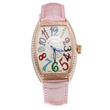 Franck Muller Casablanca Automatic Rose Gold Case Diamond Bezel Colourful Number Markings-Pink Leather Strap
