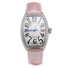 Franck Muller Casablanca Automatic Diamond Bezel with White Dial-Pink Leather Strap