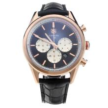 Tag Heuer Carrera Working Chronograph Rose Gold Case with Black Dial-Stick Markings