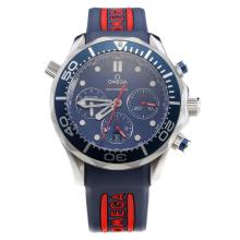 Omega Seamaster Swiss Valjoux 7750 Movement Blue Bezel with Blue Dial-Blue Rubber Strap