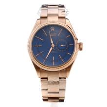 Rolex Celline Dual Time Automatic Full Rose Gold with Blue Dial-Stick Markings